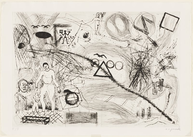 abstract image; standing man with child, LLQ; face to left of pair of figures; standing nude man holding candle holder at top center; diagonal lines with hatching; some stick figures, ULQ; square and reversed Z in URQ; triangle and three circles at center; cube and rectangular three-dimensional shapes in LLQ
