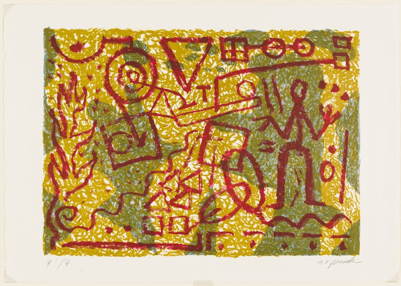 abstract image; printed in three colors--green, tan, red; green, tan and white ground with biomorphic forms; red linear elements on top with standing stick figure at left and some geometric shapes