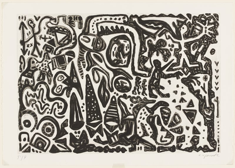 abstract image; biomorphic openwork forms with some triangles and circles, all in grey with black lines and marks on top of grey; some abstracted figures, including standing large figure in profile from PR with two smaller figures behind, right of center; some circles in LLC