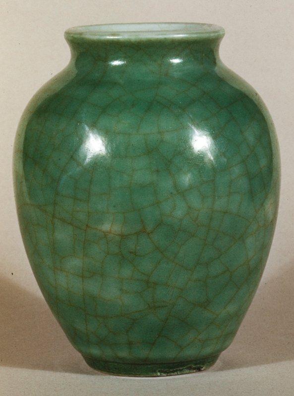 Vase, egg form; apple green, giant crackle; K'ang Hsi period (1662-1722).