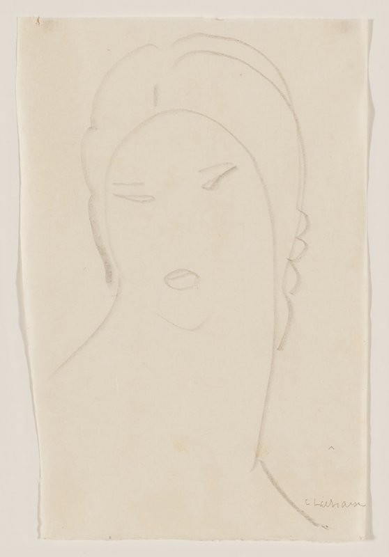 simplified line drawn portrait of a woman with a thick neck looking slightly toward PR; waves in her hair at the nape of her neck
