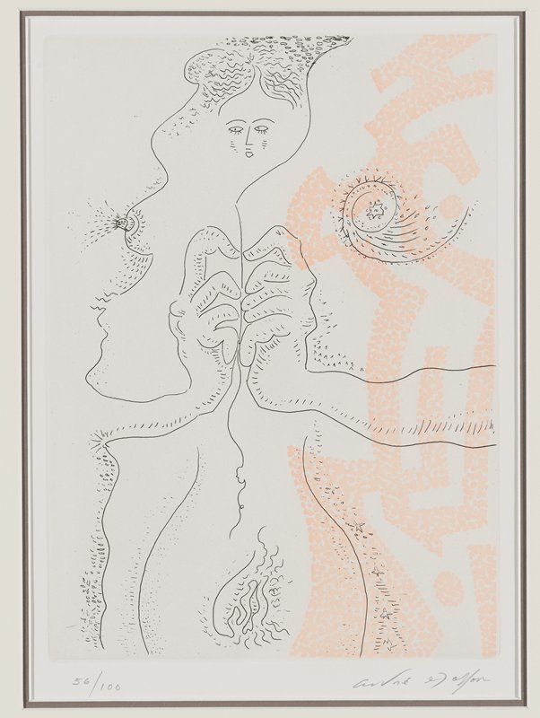 abstracted image; black linearly depicted woman's face at top center; breast at left in ULQ; hips and woman's genitals at bottom left of center; pair of hands slightly left of center; scroll with star at center in URQ; geometric design made up of pale peach dots at left
