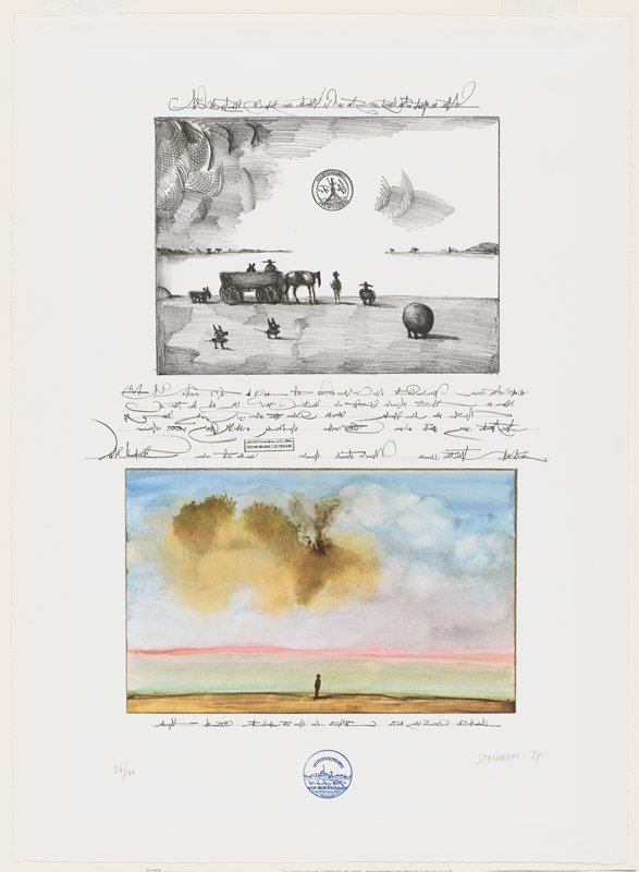 "two horizontal images with cursive-like, illegible ""text"" above and below each image; top image is black and white with figure wearing a hat and an animal in a horse-drawn cart, in silhouette; other animals (pigs and sheep?) in silhouette in landscape; faux ""seal"" at top center in sky; bottom image in color; low horizon line with silhouette of standing figure in barren landscape; green and pink at bottom of sky; brownish cloud; faux ""seal"" in blue at bottom center"