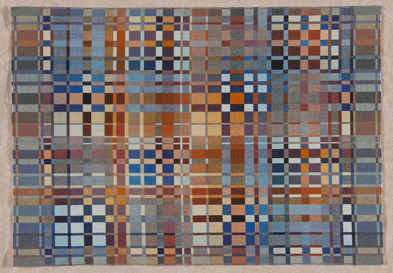 woven cotton panel with blue, yellow, brown, gold and purple rectangles and squares in various sizes; vertical and horizontal lines alternate throughout; machine-stitched seam runs along shorter edges of panel