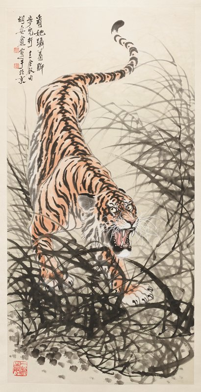 walking tiger with mouth open, baring teeth, emerging from tall, leafy black grasses; wooden roller ends