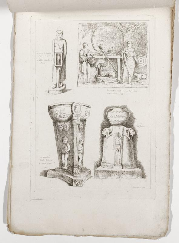 four images (clockwise from top left): standing figure wearing earrings holding a rectangular box with a standing figure inside, scene with youth at left holding a mask of an old bearded bald man with another standing figure at right, with a lying-down goat at center bottom, another lying-down animal in LRC, target-like element to right of standing figure at right and a round element left of center with a bird, Egyptian monument with standing figure and pair of lion heads, monument or vessel with tapering squared-off fluted columns and putti in relief; printed off-center on page; 2016.106.4.1-6 received bound together (stitched at top with string)