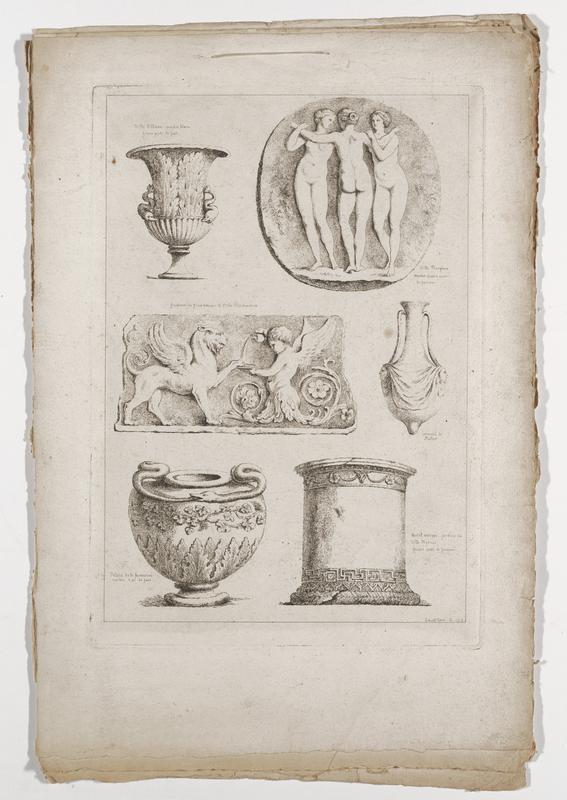 six images (clockwise from top right): Three Graces in a rondel, with center figure seen from back, jar with long handles, protrusion at bottom and pair of relief heads, wide column with Greek key design at bottom and bull's head with garlands and flowers at top, vessel with handle in the form of a snake eating its tail and relief grapevines and leaves, frieze with winged putto pouring liquid into a saucer with a griffon holding its front paw on saucer edge, vessel with dolphin handles and foliage; 2016.106.4.13-18 received bound together (stitched at top with string)