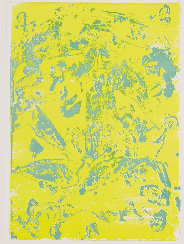 abstract image in yellow and green on white; white margin at left; some fish-like and tenticle-like forms