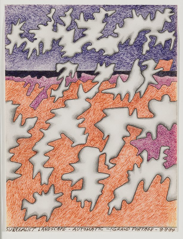"abstract image; forms with zigzagging edges, grey shading and black outlines floating over orange and purple ""ground"", black horizon line and dark purple ""sky"""