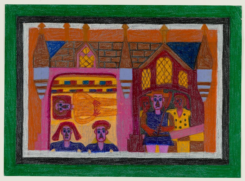 primitive style; castle-like structure with bricks at top; archway at left trimmed in red with yellow windows with diagonal panes; three frowning figures at left, including figure with brown hair, lying down, wearing an orange garment, and heads and shoulders of two figures wearing purple; standing figure wearing purple tunic and orange hat and gloves, holding a paddle-like object, at left, with two additional figures in profile behind him; white, black and green borders