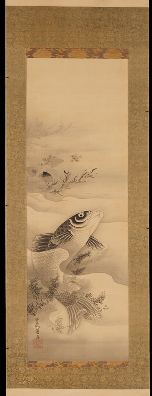 black ink on paper; image of swimming carp in a minimally rendered body of water; foliage along upper left edge and lower left quadrant; soft waves run horizontally across middle of image; carp's body is curved with head breaking surface of water and facing upwards toward PL; untranslated characters and red stamp in LLC