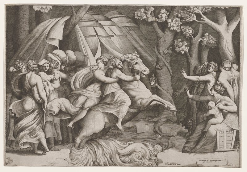 two figures riding a horse at C across river; small groups of people wearing togas and classical dress on both banks, many clutching babies, screaming, and reaching out; trees at L; tents in background