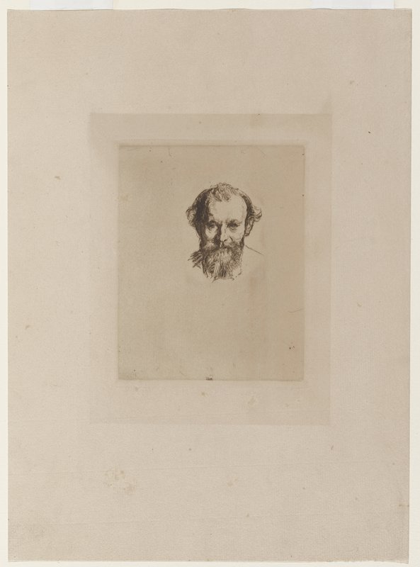small portrait of face and bust of a pensive-looking, older man with bushy beard and receding hairline; brownish paper