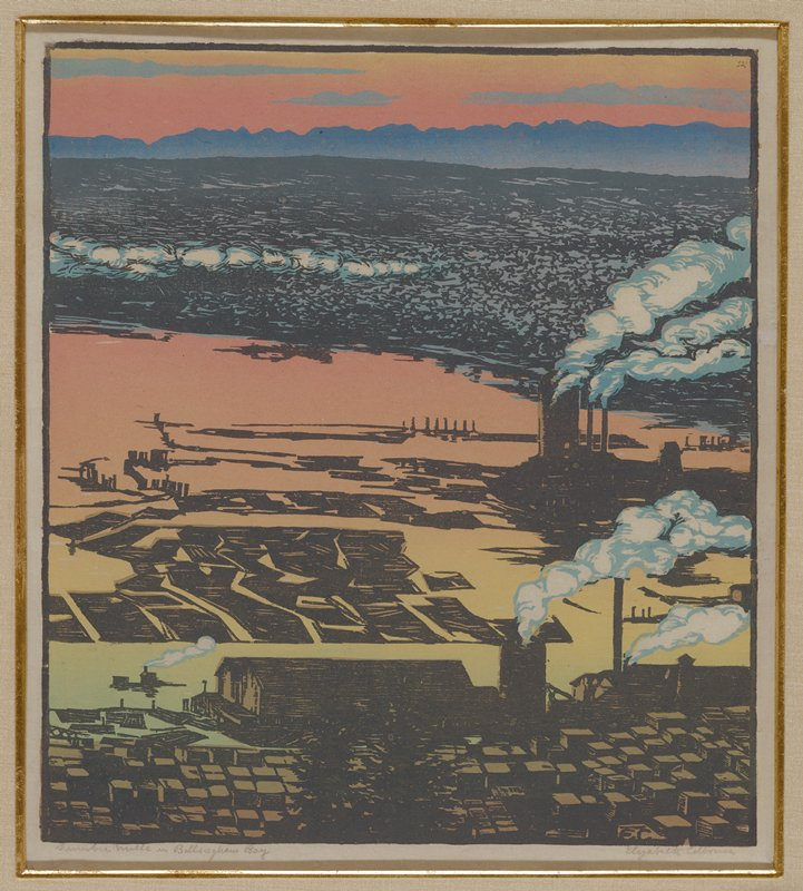 dark silhouettes of large buildings at the edge of water, colored green, yellow and orange in sunrise or sunset; red sky with blue clouds; clouds of smokes coming from tall smokestacks; blue mountains at high horizon line