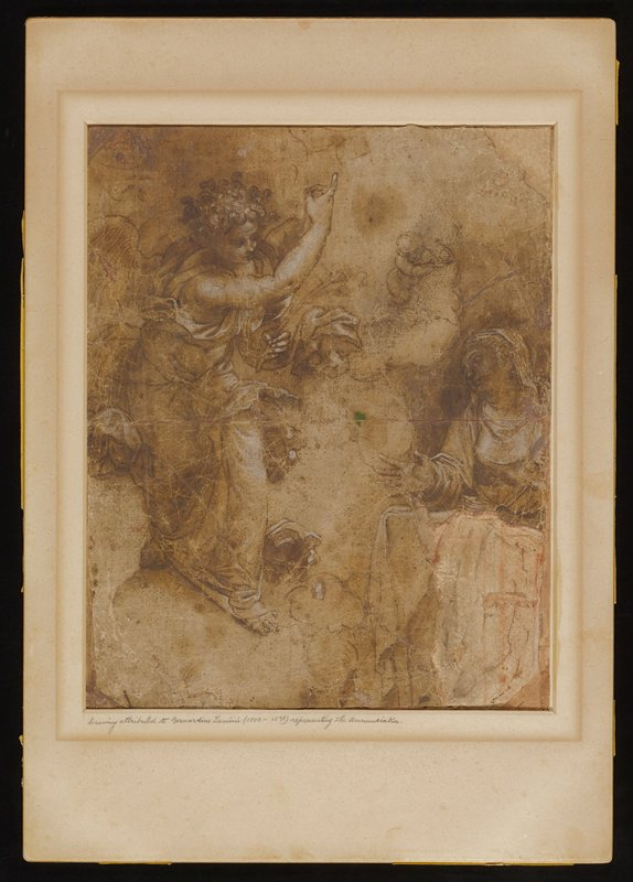 sketch; angel at left, gesturing across body and upward with PR arm, holding a flower (?) in PL hand; woman in LRQ, gesturing with PR hand held open and out; putto in URQ
