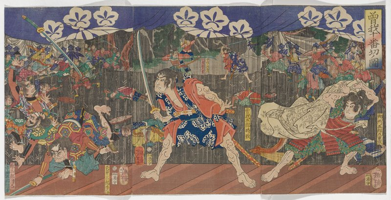 assembled triptych; male figure at C with wide stance, brandishing a sword, facing L; figure at R wearing armor, ducking, holding white cloak with silver foliage behind him; another male figure at LL falling to the ground, with sword up in air; fight scene in background with heavy rain; purple curtain with white flowers at top