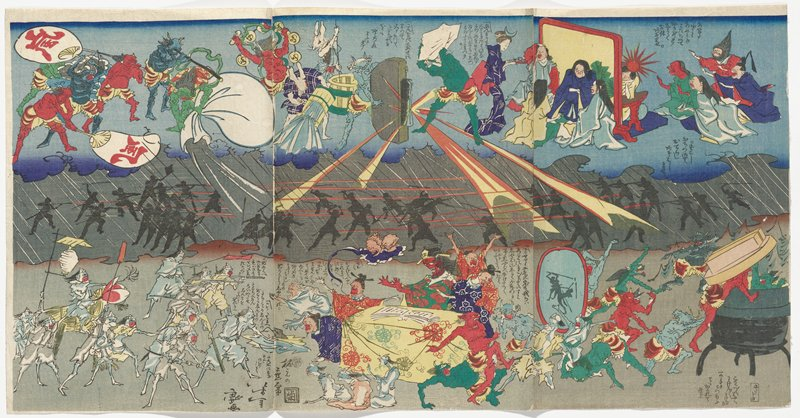 three sheets pasted together; three horizontal sections with gods at top, including human figures at right with caricature faces, green and blue demon-like figures at center, creating yellow and red rays; pair of anthropomorphic rabbits pouring out water, and other blue-, green- and red-skinned figures in ULC; central grey area with silhouettes of figures fighting with spears and guns; bottom horizontal section with white demons at left with weapons threatening caricatures at center seated around a table with a yellow patterned tablecloth; demons climbing into a cauldron in LRC