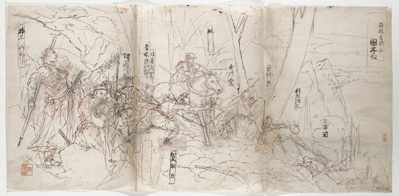 three sheets joined together; drawing in black and red; battle scene on a sloping hillside, descending to a valley in LRC; standing man with a ponytail and headband, holding a staff behind his back, with his PL hand on his check, at left; many figures descending mountains in a stream to right of standing figure, with lunging man at left edge of center sheet; man on horse at center of middle sheet; figures descend to valley, with a battle with clouds of smoke