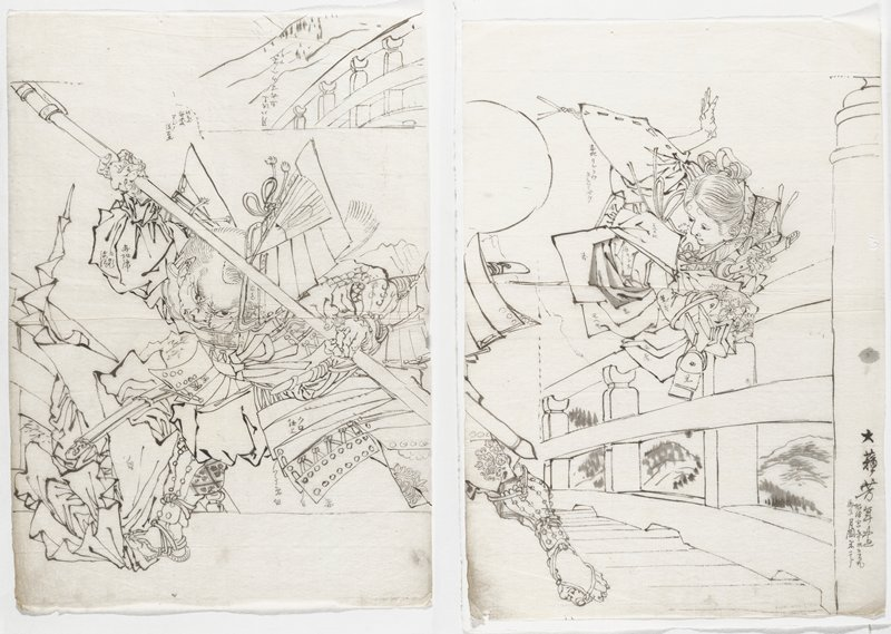 two separate sheets; ink drawing on thin paper; scene on a bridge with foreshortened figure at right, jumping in a tight ball in the air, with PR hand outstretched above head; crouching man with wide stance at left, wearing armor, and holding a staff at the diagonal, head tilted toward PL; detail of railing at URC of left sheet