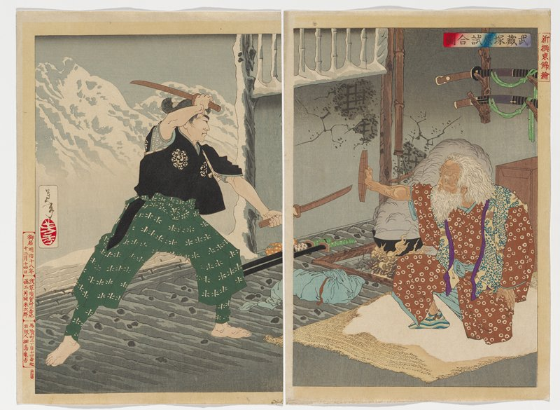 two sheets; scene inside building in mountains, with snowy landscape visible outside open door at left; older kneeling man at right with long white hair and white beard, wearing brown kimono with white circles, holding a small piece of wood defensively in his PR hand; younger man at left with two short swords, wearing short black jacket and green pants with white patterning