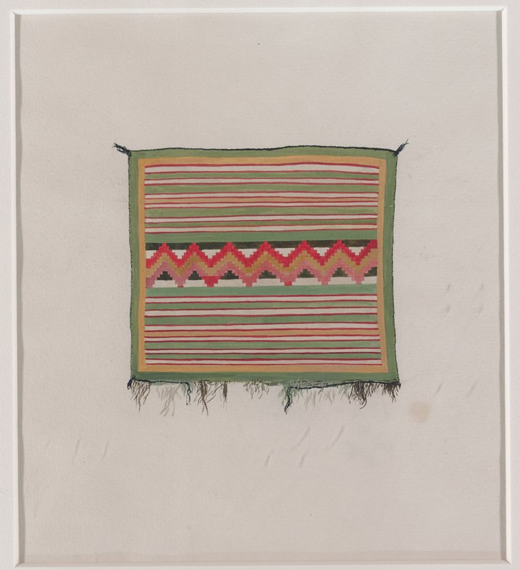 depiction of textile with green, tan, red stripes; red, tan, pink zigzags down C; green border; framed
