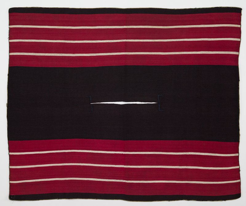 wide black band at center; narrow black bands at long sides; horizontal wide red and narrow white stripes; pairs of blue L shaped stitching on either side of neck opening