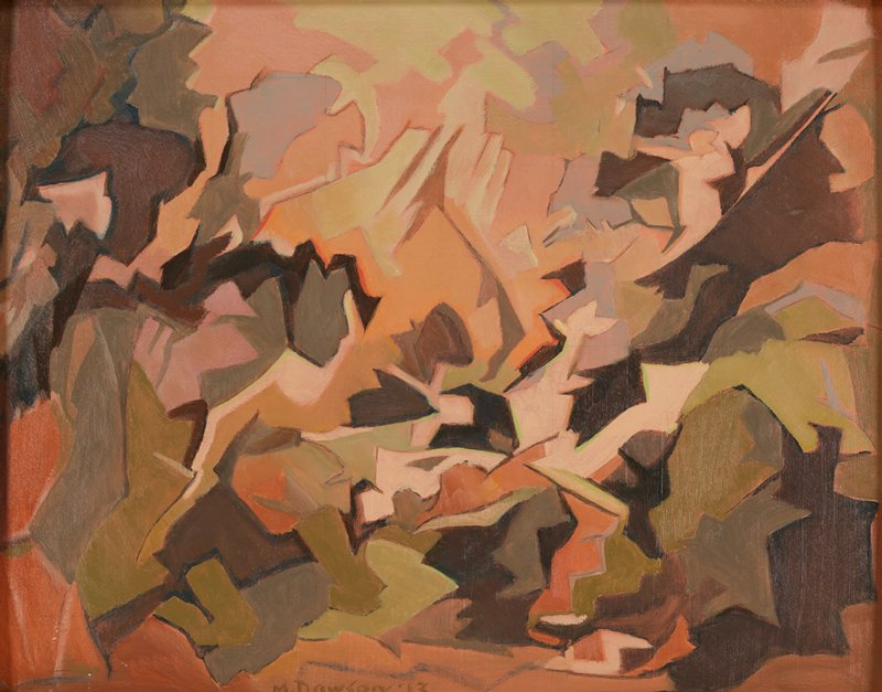 abstracted image in muted multi-colored pigments; angular shapes in orange, brown and green on bottom edge; peach and green angular shapes in top center; muted brown and peach shapes in ULC