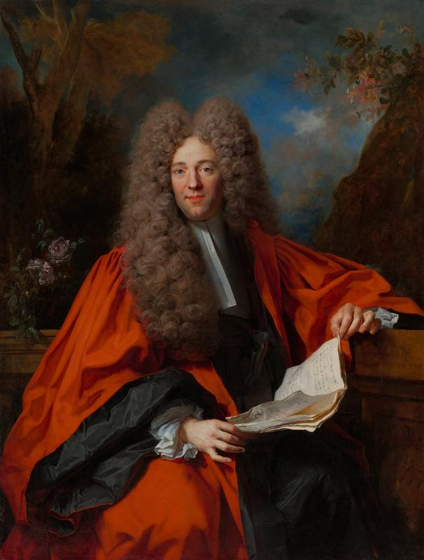 portrait of a man wearing a long, curly grey wig with a prominent center part; man wear a red robe over a black robe with a white collar and white at his cuffs; man holds a thin booklet; landscape in background with pink flowers at left and in URC; tree at left