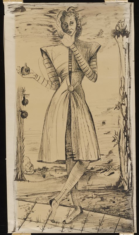 black ink on yellowed paper; image of single figure holding a mask over their face; knee-length robe cinched around the figure's waist; striped long-sleeved top worn under robe; PL leg crossed in front of PR; figure holds a pomegranate in PR hand; loosely sketched exterior background