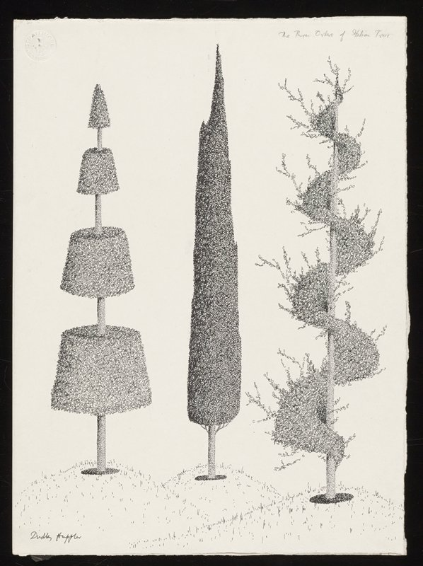 image of three trees planted in a row; left tree has four separate segments that are conical and recede in size toward the top; center tree is a single cone shape; tree on the right has spiraling foliage winding around the trunk; each tree is planted in a mound of grass