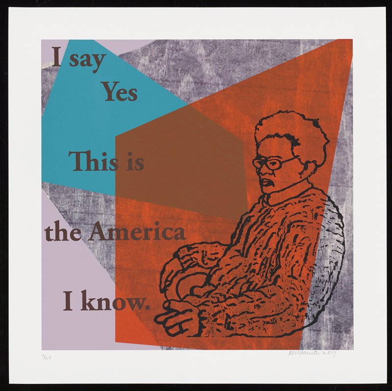 larger cartoonish elderly figure seated on chair facing L at LRC; grainy wood-grain background in gray, with bolder orange and blue overlapping shapes; text reads: I say / Yes / This is / the America / I know.
