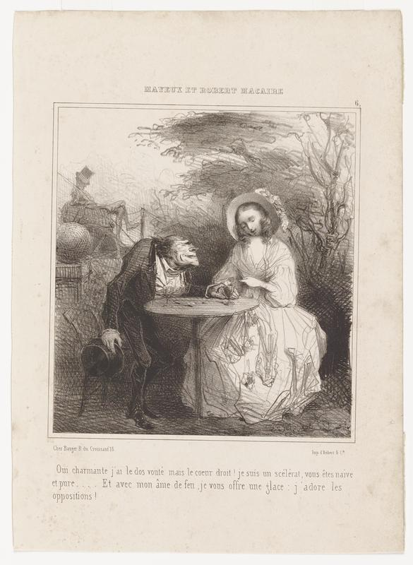 """black and white image of an older male figure and younger female figure seated at a table outdoors; shrubbery and trees in URQ; figure in a top hat resting in a carriage behind male figure in ULQ; text in French on top margin reads, """"MAYEUX ET ROBERT MACAIRE""""; text on bottom margin"""