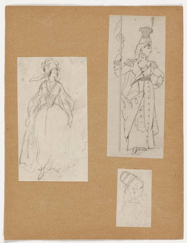 three figure drawings mounted to a sheet of paper: a. female figure in long, flowing dress with a cinched waist, ruffled collar and full sleeves; wears head dress and looks toward PL b. female figure in military uniform with a sash and epaulettes on shoulders; wears tall, elaborate hat and holds a banner in PR hand; PL had placed on hip c. small loosely drawn image of a female figure in profile, looking toward right; wears headpiece and earrings