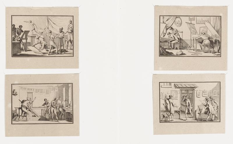 """four prints mounted together a (""""Sculptors #64""""): man at right with hammer and chisel, working on a large bust on a tall stool; man at center with a large sheet of material, one end resting on ground; two figures at left--one standing at an easel; some Classical sculptures at center and right b (""""Engravers #65""""): man at right, seen from back, seated at a large table; seated man at left, with a standing man looking over his shoulder, working at a slanted drawing board; dog in LLQ c (""""Printers #66""""): man at left turning a very large four-part wheel on a printing press; man at other end of press at center; man wearing top hat at center right; two other men working at a table at right d (""""Print Dealer #67""""): two men looking at rack of prints at right in front of shop, with man in doorway at center; gesturing man at right with dog"""