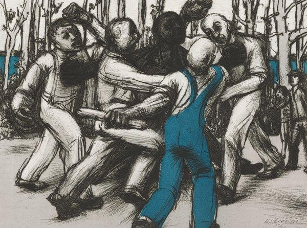 group of four white men, with man at front right wearing blue overalls, surrounding and fighting with a black man; two other figures at right in background; trees in background