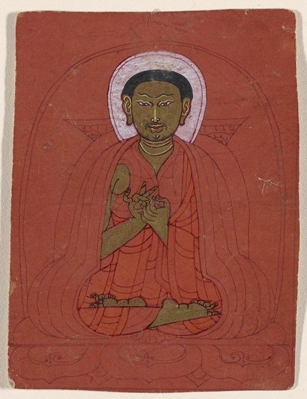 drawing of a male figure seated on a lotus throne with gold skin on red ground on front; 11 lines of text, in red, on back
