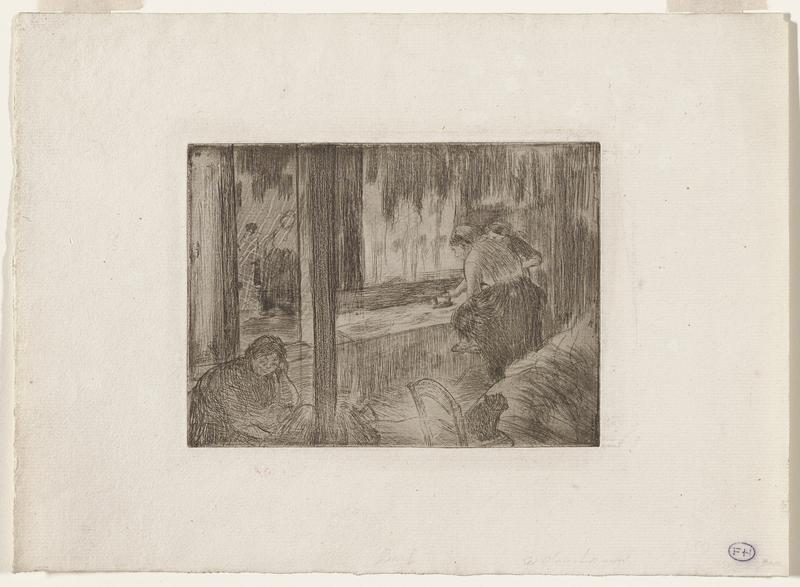 black and white etching; three figures in an interior scene; seated figure, resting her hand on her PL arm, with two other figures standing in front of a window, ironing a garment at a table; black cat sitting on a chair in the bottom right edge; faint image of a figure located beyond a doorway in the ULQ