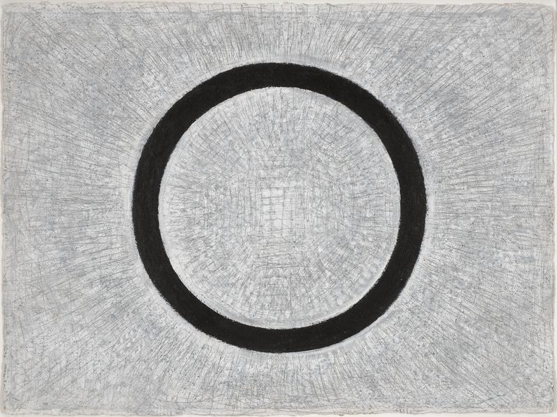 black ring against gray-white ground with grey pencil line grid at center, with pencil lines radiating outward inside and outside black circle; received framed in black and silver frame