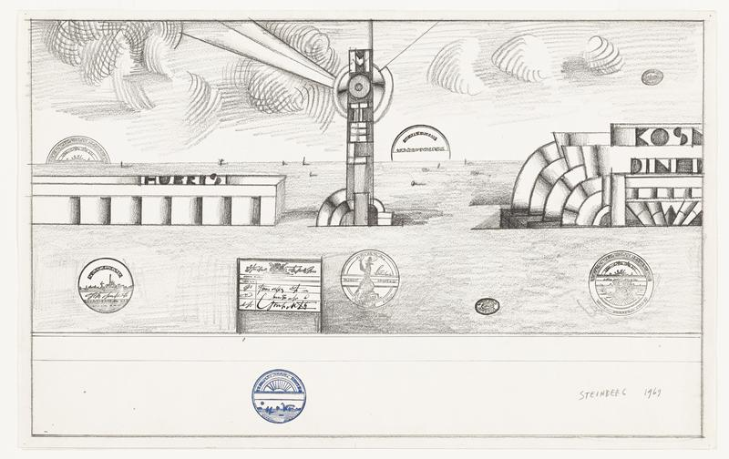 "abstracted image; two Art Deco style buildings with text (""HURRIS"" and ""KOSM... DINN.."") at left and right edges; radiating Art Deco vertical tower-like sign at center: ""MOTEL""; flat, barren landscape; curving parallel lines in sky forming clouds; various round, oval, and rectangular stamps in blue and black with sculpture and landscape motifs and illegible handwriting"
