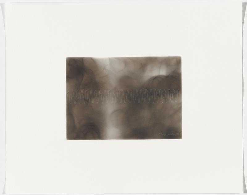 smoky grey background; white zigzagging line with closely spaced peaks and valleys