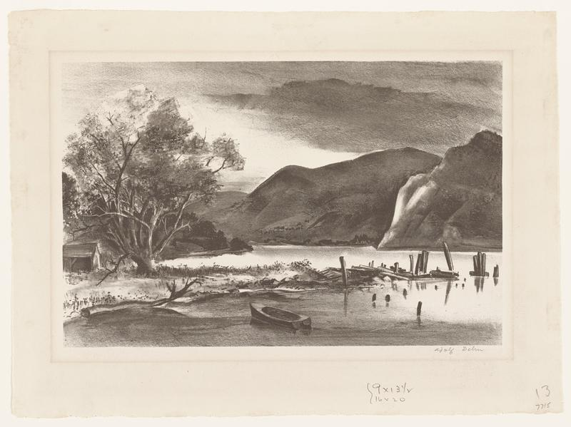 landscape with a calm body of water and a boat; mountains in the background; black frame