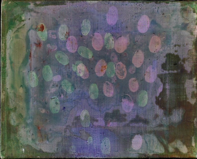 Abstraction. thin ground of swirling purple, brown and green with fingerprints in green and pink at center. Unsigned (checked 2/01)