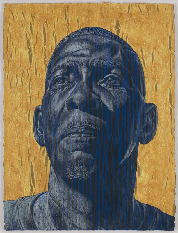 drawing of the head of a man, bald, looking upward, and rendered in blue, black and white pigment; linear, woodgrain-like design, with vertical lines running downward on face; gold background with same woodgrain-like pattern