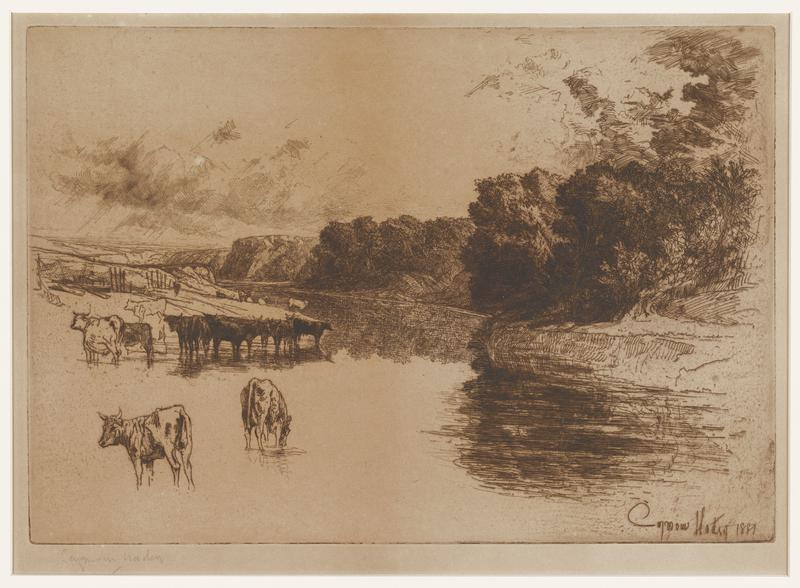 black ink on beige paper; two cows in LLC; group of cattle standing in water at bank of land at left side; small fences behind cattle; curving river from bottom to center of image; large trees along bank on right side of river; in left background landscape of plateaus; in upper area, faint sketches of hills and clouds (?)