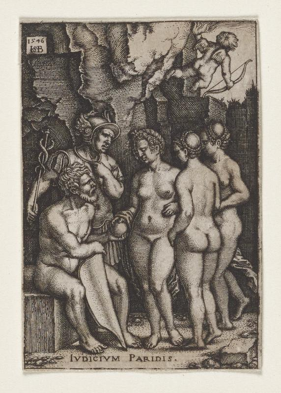 seated nude man at left holding a shield in one hand and a sphere in the other; a nude woman has her hand on the top of the sphere and is joined by two additional nude women; Mercury in full armor stands behind seated man and points at himself; cupid has his back to the viewer in the UR corner