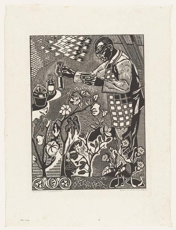 black and white image; male figure on right holding a cup in PL hand, and a beaker in PR hand, wearing a checkered coat and glasses; zigzagging pattern in top left edge of image; bottle and covered potted plant in upper right edge of image; groups of flowers in front center and in LLC of image; several intricate patterns make up negative space in image; three symbols encased in circular curving elements in bottom left edge of image