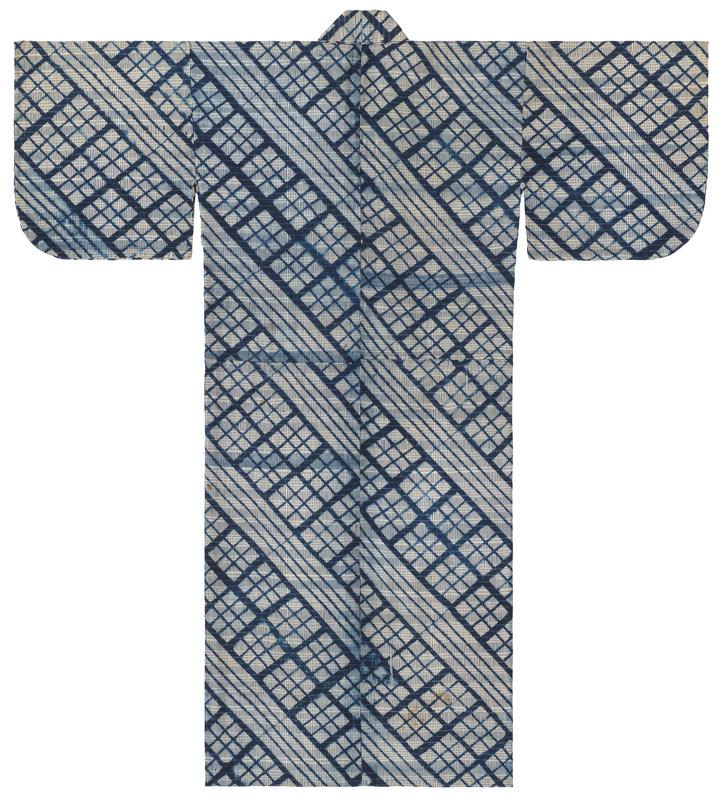 overall pattern of alternating white diagonal stripes and 3x3 grids, with navy blue boundary lines and vertical dashes throughout