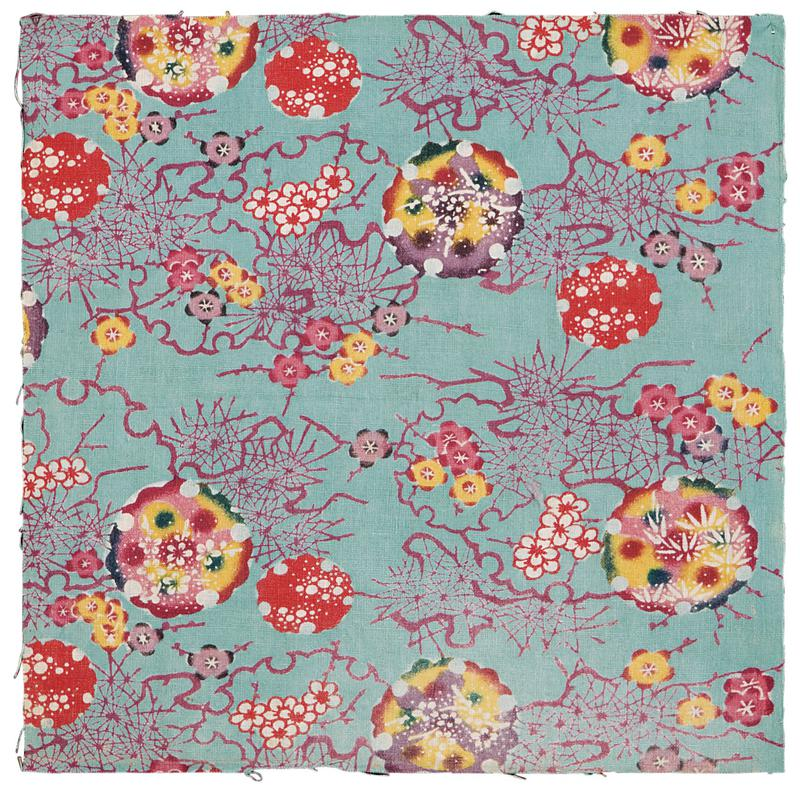 square fragment of light blue fabric with multicolored floral pattern; small white, pink, purple, and yellow blossoms amid curving and angular purple lines and larger red, purple, yellow, pink, and green designs of dots, leaves, and flowers