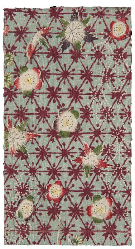 rectangular fragment of light blue fabric with geometric pattern and florals; red triangular larrice pattern over background, with white, pink, purple, and green flowers scattered throughout