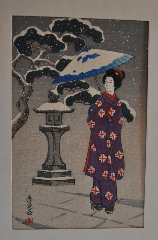 image of robed figure walking in a snowy scene; holds open blue umbrella; wears purple robe with red and white crosses; gray brick walkway; snowy bonsai tree in ULQ; gray stone lantern covered in snow in center